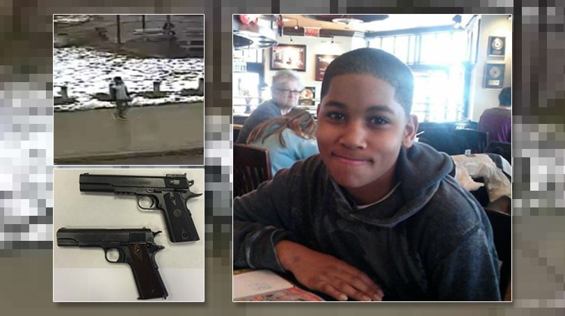 Photo compilation: 12-year-old Tamir Rice; a comparison of the Airsoft replica he was carrying the day he was killed with a real 1911 Colt pistol it was modeled after, according to officials. Rice was fatally shot by an officer in a Cleveland park on Nov. 22, 2014.