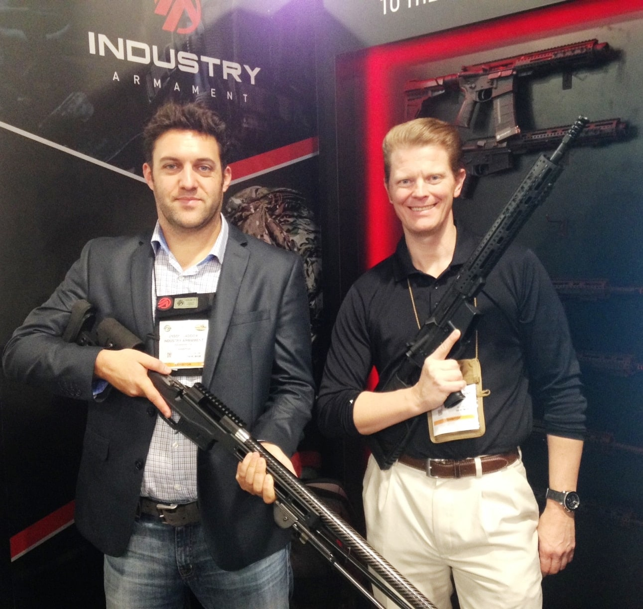 Jamie (L) and Bryce of Industry Armament with .308 and AR15. (Photo: Team HB)