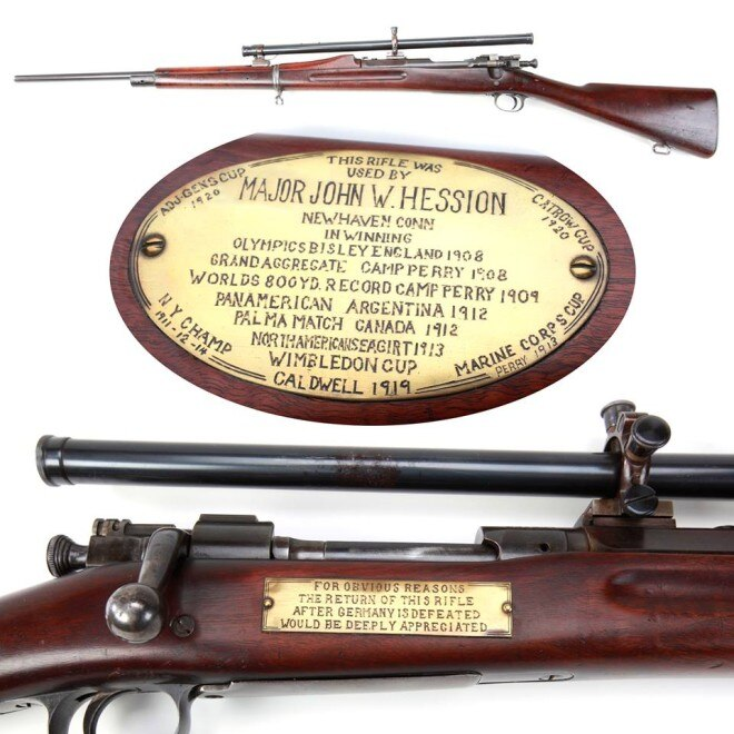 A marksman's rifle donated for war, sent back in peace