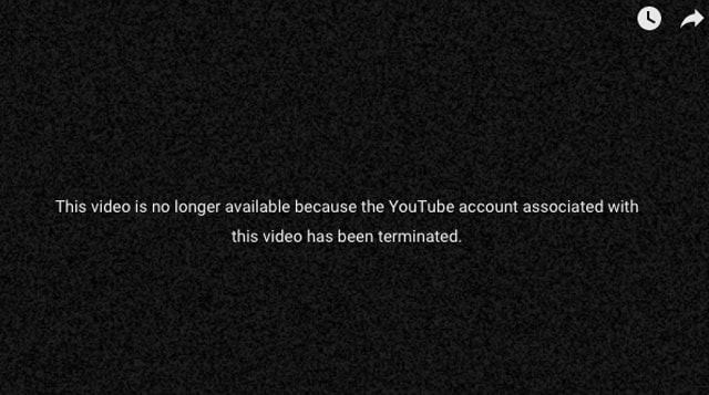 What displays on YouTube videos when an account is terminated.