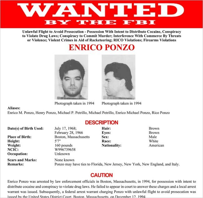 FBI Wanted poster for Enrico Ponzo
