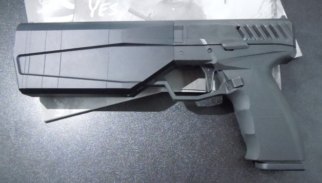 Current prototypes feature a large trigger guard and some serious slide serrations. (Photo: Chris Eger/Guns.com)
