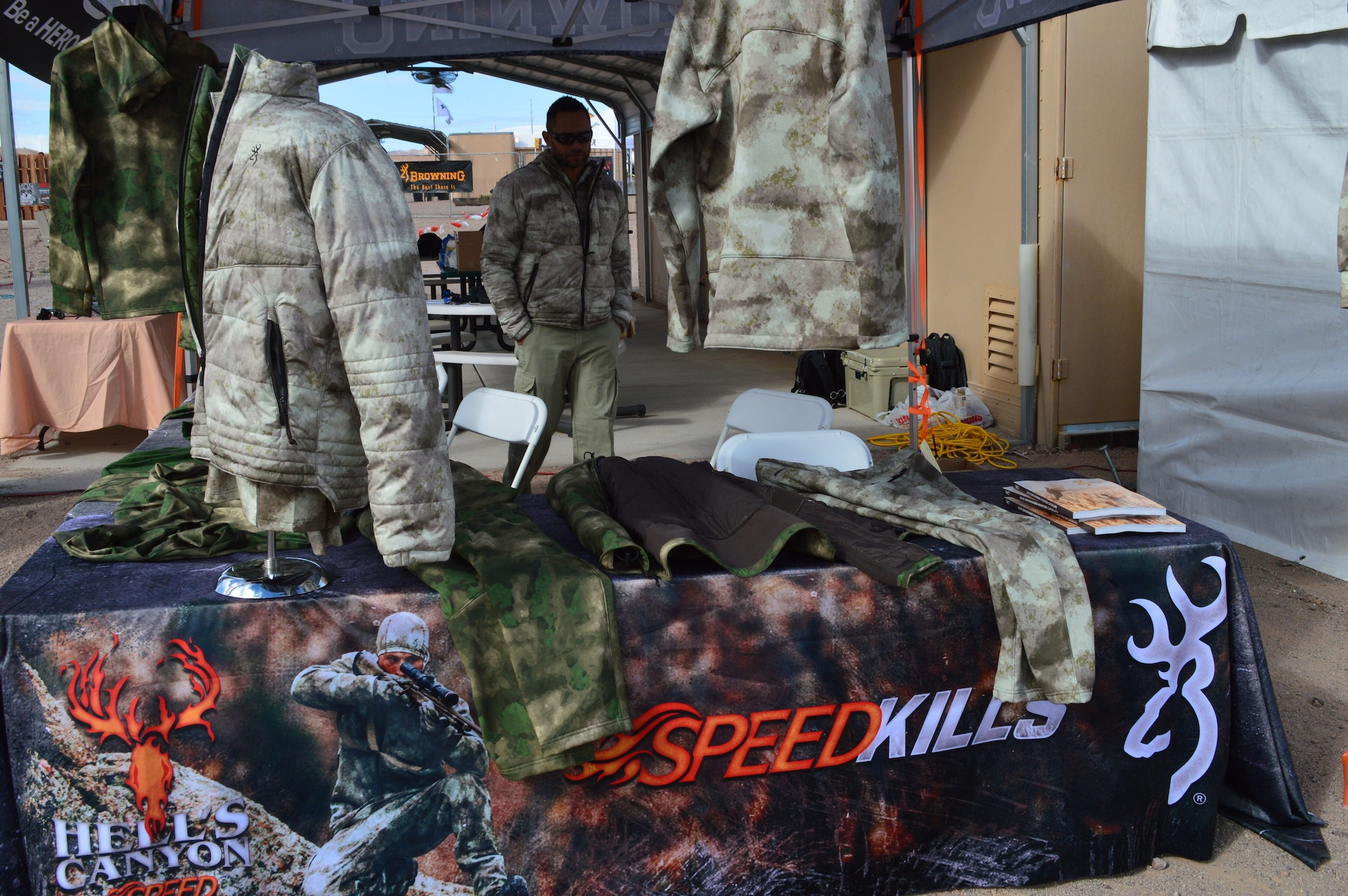 Browning shows off Hell's Canyon Speed line of hunting gear at Industry Day on the Range in Boulder City, NV. (Photo: Kristin Alberts)