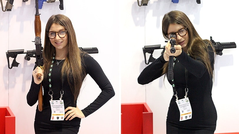 A Kalashnikov Booth Holds An Ak 47 At The 2016 Shot Show