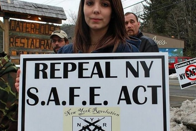 Gia Arnold at an anti-SAFE Act rally.