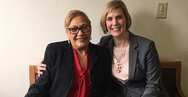 Oregon State Rep. Jennifer Williamson, right, with Rev. Sharon Risher, a relative of victims of the Charleston shooting, who was in Oregon to testify about Williamson's bill. (Photo: Facebook)