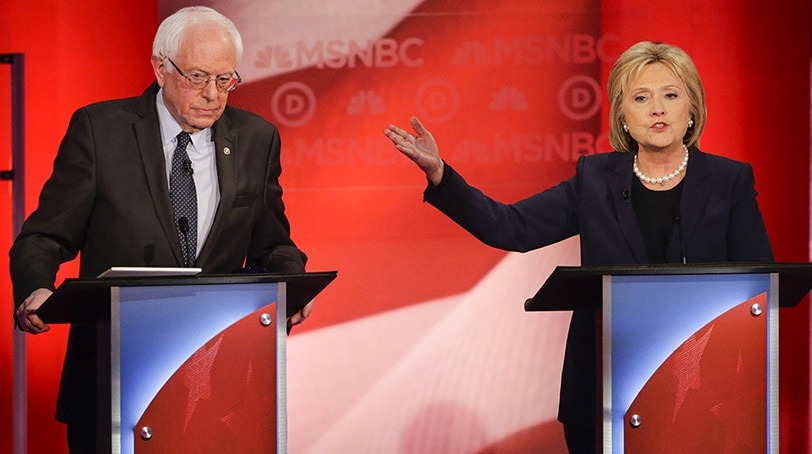 Former Secretary of State Hillary Clinton attacks Vermont Sen. Bernie Sanders during a one-on-one debate hosted by MSNBC Thursday night. (Photo: Associated Press)
