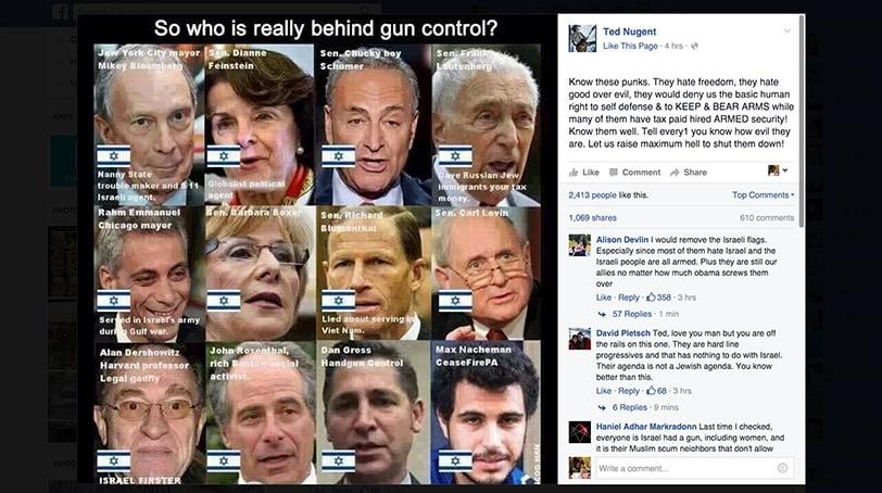 Ted Nugent's anti-Semitic gun control Facebook post.
