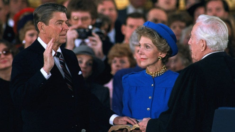 Nancy Reagan seen with her husband, President Ronald Reagan, during his second inauguration in 1985. (Photo: Associated Press)