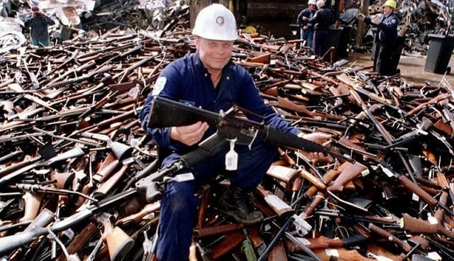 Guns collected during Australia's 1996 buyback. (Source: Getty Images/William West)