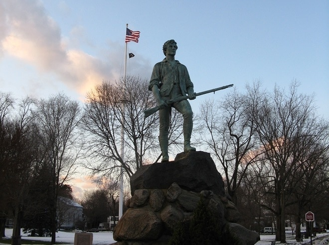 The monument to militia Captain John Parker in Lexington