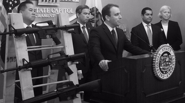California Assemblymember Marc Levine, with fellow California Democrats -- including Assemblymember Miguel Santiago -- speaking in favor of gun control. (Source: Facebook)