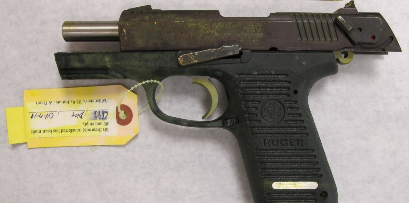 A Ruger pistol seized from a crime, namely the Boston Marathon bombing. (Photo: Justice Department)