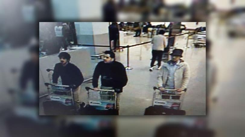 A picture released on March 22, 2016 by the Belgian federal police by the order of the federal prosecutor shows suspects being sought in Tuesday morning's attacks at Brussels Airport. (Photo: Getty Images)