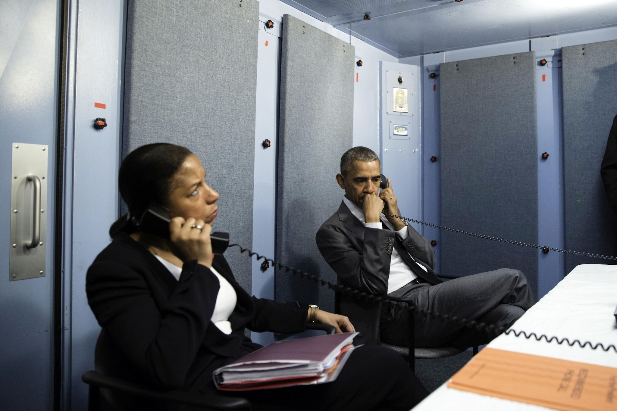 President Barack Obama and National Security Advisor Susan E. Rice talk on the phone with Homeland Security Advisor Lisa Monaco to receive an update on a terrorist attack in Brussels, Belgium. The President made the call from the residence of the U.S. Chief of Mission in Havana, Cuba, March 22, 2016. (Official White House Photo by Pete Souza)