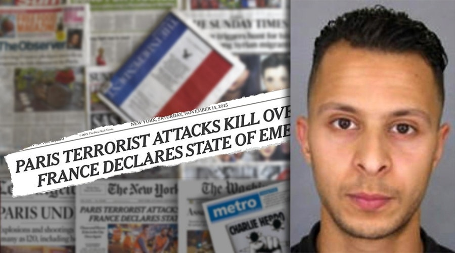 Photo compilation of newspapers reporting Paris terrorist attacks and suspect Salah Abdeslam (Credit: Jared Morgan)