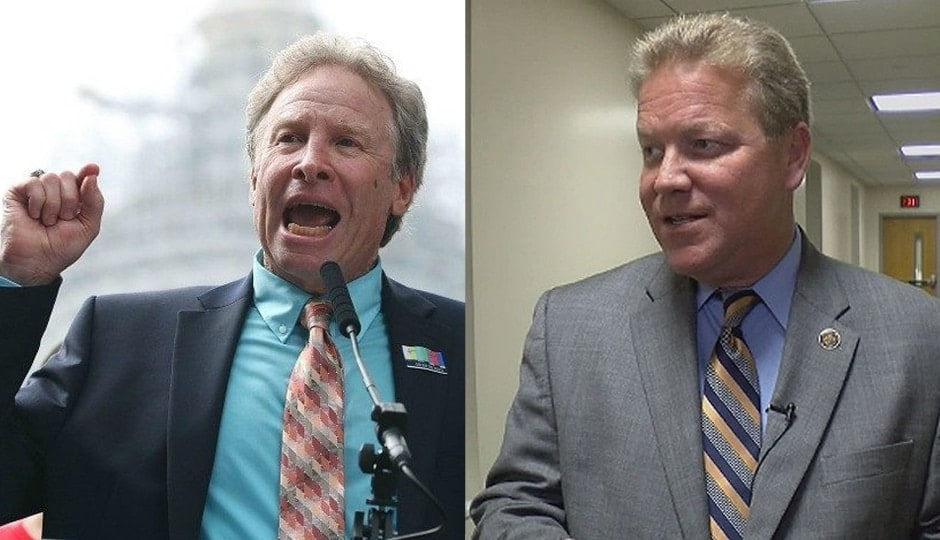 Andy Parker (left) and Virginia Sen. Bill Stanley (Photos: Getty / WDBJ7)