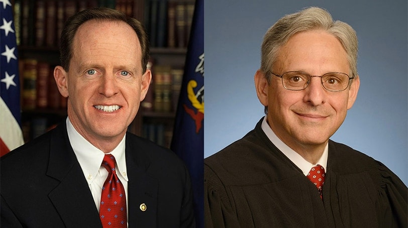 Pat Toomey (left) says he'll meet with Supreme Court nominee Merrick Garland, but he won't vote to confirm him. (Photo: Via PhillyMag.com)