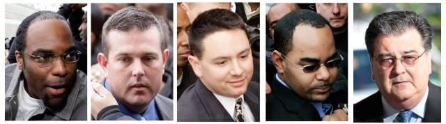 From left the five former New Orleans Police Department officers: Robert Faulcon Jr., Robert Gisevius Jr., Kenneth Bowen, Anthony Villavaso II and retired New Orleans police Sgt. Arthur Kaufman, who pled guilty this week for their role in the Danziger Bridge shooting and cover up in New Orleans, Louisiana on Sept. 4, 2005. (Photo: AP)