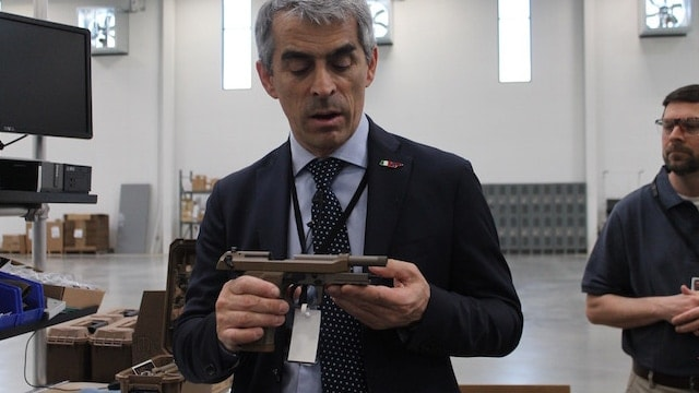 The first M9A3 produced at the new facility was assembled and readied the morning of the ceremony.
