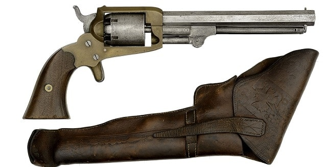 Extremely Rare Confederate Cofer Third Type Revolver in its Original Holster Captured by 11th Maine Captain S.H. Merrill
