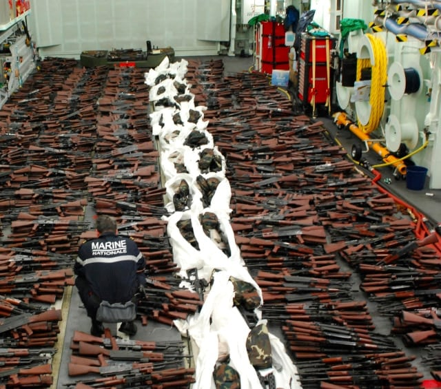 Guns seized by the French Navy on March 20. (Photo: Combined Maritime Forces)