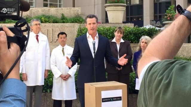 Newsom delivers signatures for California gun ballot initiative