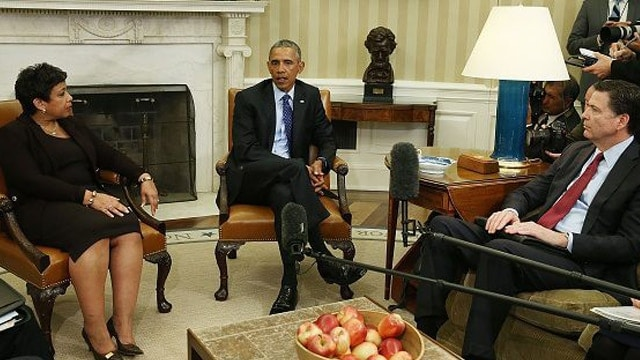 President Obama, center, meeting Attorney General Loretta Lynch, left, and FBI Director James Comey