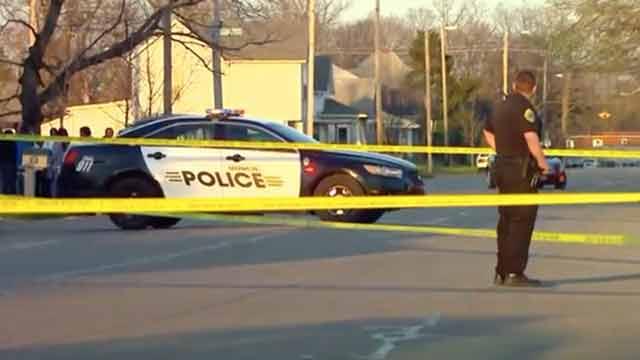 police at Muncie crime scene