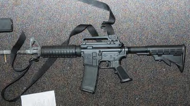 This Bushmaster AR-15 rifle was used in an attack on Sandy Hook Elementary School in December 2012.