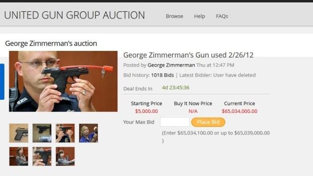2nd auction site waffles on Zimmerman gun after wild bidding