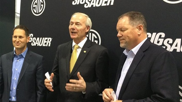 Gov. Asa Hutchinson, center, meeting with Sig Sauer at SHOT Show 2016. He's the first Arkansas governor to visit the show. (Photo: Asa Hutchinson/Facebook)