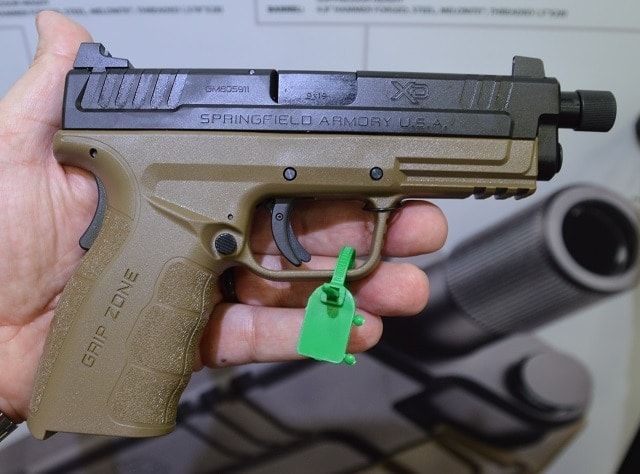 """SA's XD Mod.2 4"""" Threaded Service Model accepts 9mm (and up) cans right out of the box and comes complete with a high profile suppressor sights, flat dark earth frame and Melonite slide. (Photos; Chris Eger/Guns.com)"""