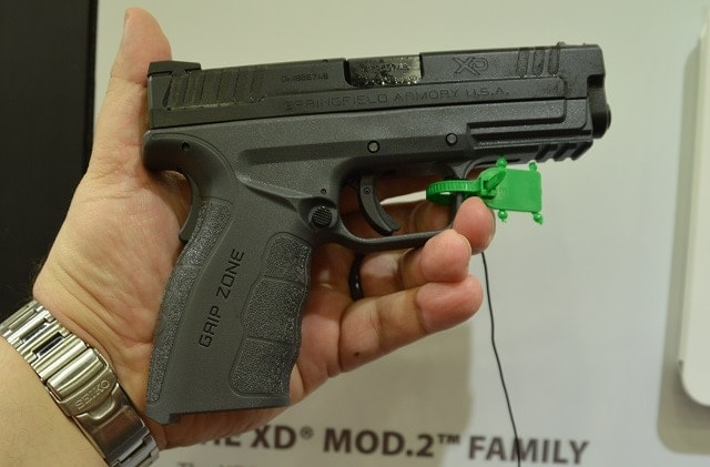 """A Mod.2 4"""" Service Model is coming with a Tactical Gray finish, which is new for the XD line. There is also a new single stack XD(S) in the same battleship-like finish."""