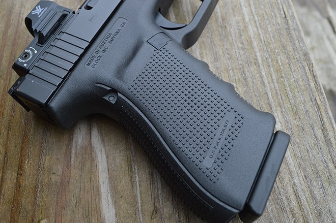 texture grip detail view of glock 40
