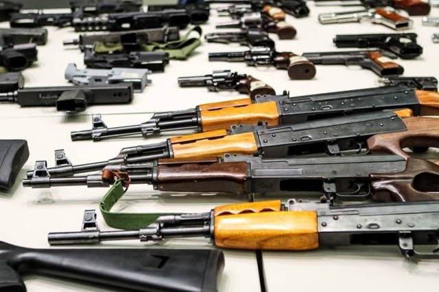 The guns shown off for the media Wednesday represent a small portion of the 791 turned in (Photo: LA Mayor's Office)