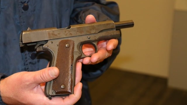 A milsurp M1911 belonging to Sammy Davis, Jr. was turned in and city officials told Guns.com it could be destroyed. (Photo: Pete Demetriou/KNX 1070)