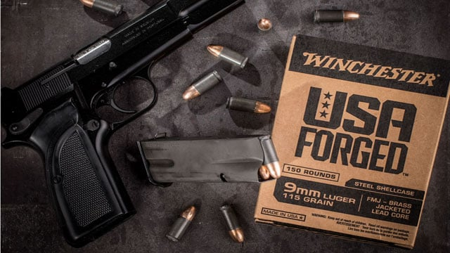 USA Forged is the name of Winchester's new steel-cased 9mm. (Photo: Midway USA)