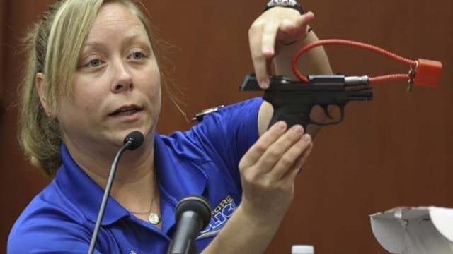 The Kel-Tec 9mm pistol on display in a Florida court.