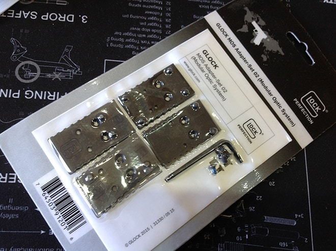 photo of glock mos plates in packaging
