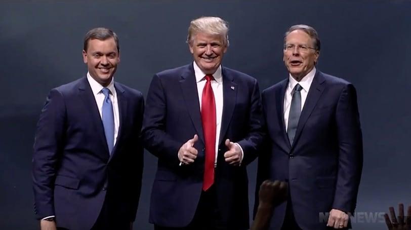 From left: NRA-ILA Executive Director Chris W. Cox, presumptive Republican presidential nominee Donald Trump and NRA Executive Vice President Wayne La Pierre. (Photo: NRA News)