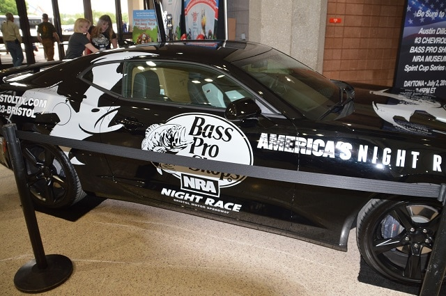 A couple of versions of the NRA National Sporting Arms Museum/ Bass Pro Shops #3 Camaro was on hand for NASCAR fans.