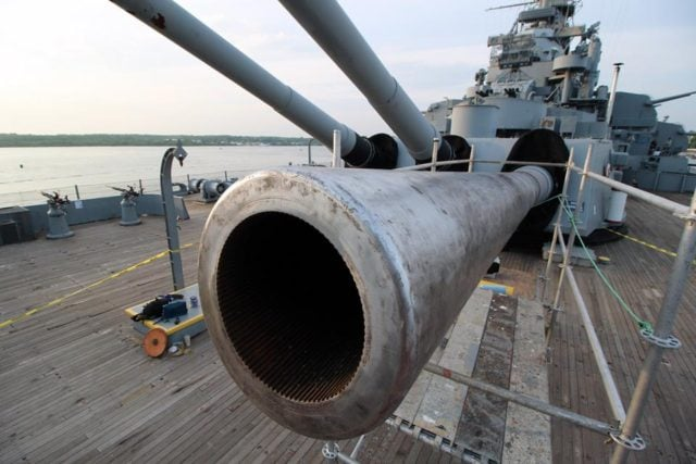 These guns could fire a 2,700 pound armor piercing shell some 23 miles away. (Photo: USS Massachusetts Facebook)