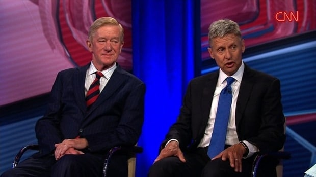 Libertarian presidential candidate Gary Johnson (right) and running mate Bill Weld in a town hall hosted by CNN Wednesday night. (Photo: CNN)