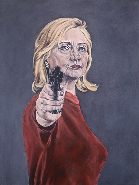 "Hillary Clinton in ""RedGun"" acrylic on canvas (Credit: Sarah Sole)"