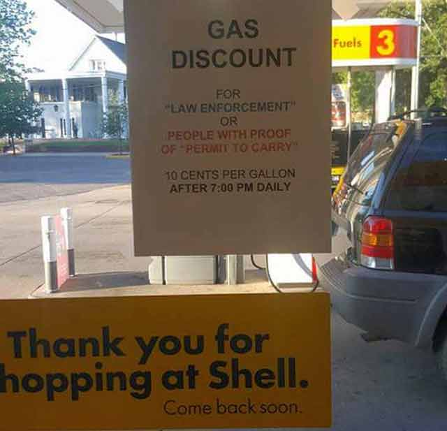 concealed carry gas discount