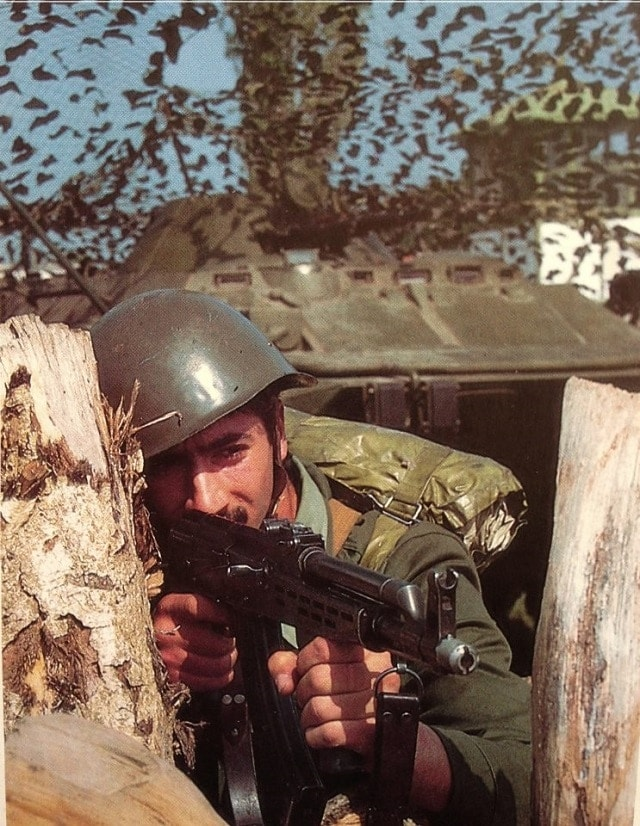 Soldier of the Hungarian People`s Army training with his country's AK variant, the AMD-65 rifle