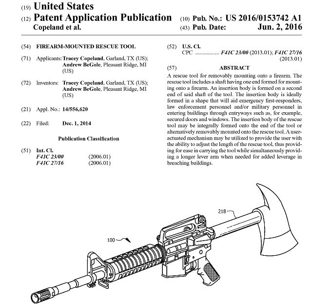 This Firearm-Mounted Rescue Tool could be appearing on the market very soon. (Photo: USPTO)