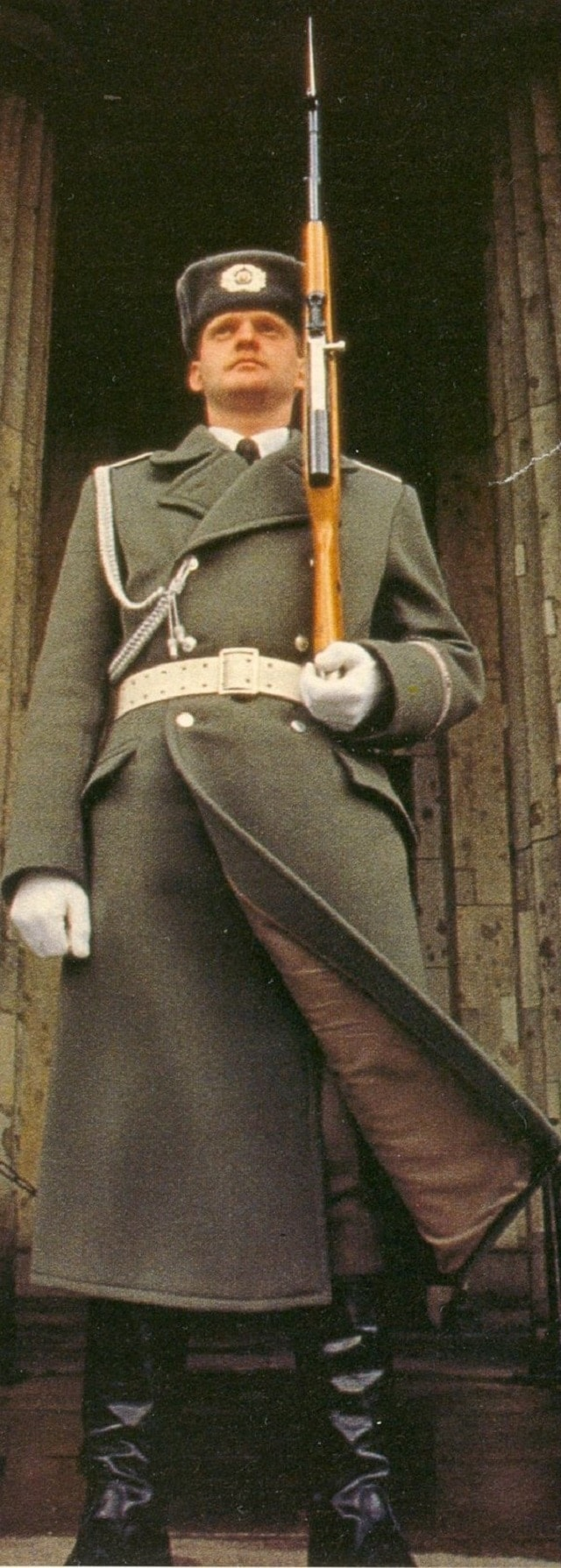 Soldiers in the DDR for a time carried thier own German-made SKSs, dubbed the Karabiner S, which this soldier of the Friedrich Engels Guard Regiment at the gate of the Neue Wache in East Berlin carries.