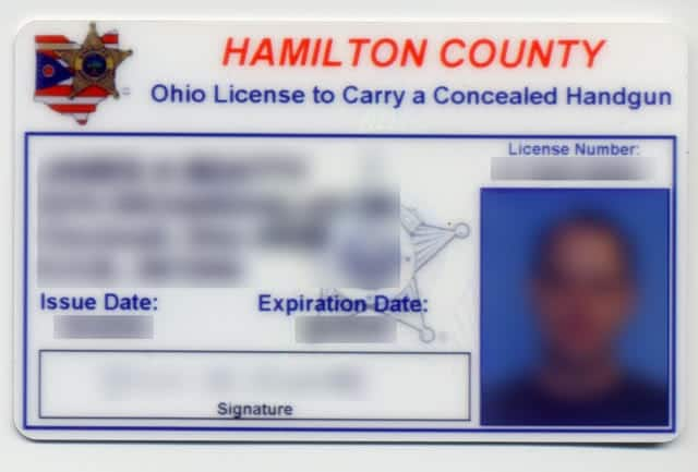 An example of an Ohio carry permit.